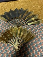 Set of 2 Homco Home Interior Victorian Fans Wall Hangings/Plagues Brass/Metal