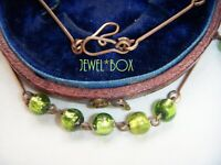 BOHEMIAN ART DECO LIME GREEN FOIL GLASS  BEAD ROLLED GOLD VINTAGE NECKLACE