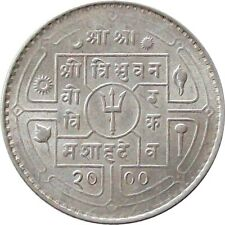 NEPAL 1943 50-Paisa SILVER Coin King TRIBHUVAN【Cat № KM# 718】AU