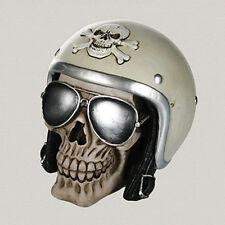 Spardose Totenkopf mit Sonnenbrille und Motorrad Helm schwarz silber beige NEU