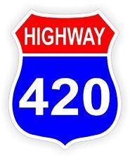 Highway 420 Hard Hat Sticker | Motorcycle Helmet Decal | Pot Weed Label Hippie