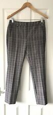 ADRIANNA PAPELL BLACK DOGTOOTH PATTERN SMART TROUSERS UK 8 WORK SKINNY