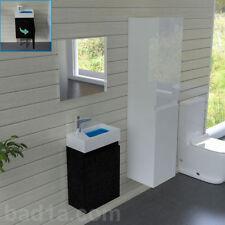 Waschbeckenunterschrank mit Spiegel Schwarz Badmöbell Gäste WC Waschtisch