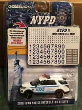 Greenlight Nypd 2016 Ford Police Interceptor Utility w/ decal sheet