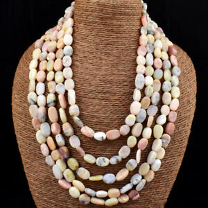 675.00 Cts Natural Pink Australian Opal Oval Beads 5 Strand Necklace NK 17E173