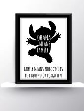 Disney Lilo And Stitch Children's Print Decor Nursery Ohana Means Family Love