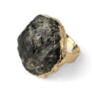 Black Tourmaline Ring Irregular Natural Stone Raw Crystal EMF Protection Jewelry