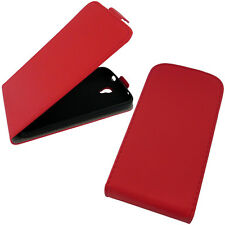 Huawei Y5 II Flip Case Rot Klapp Cover Schutz Hülle Handy Tasche Bumper Etui