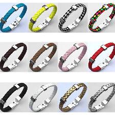 Trendy Pop Braided Rope PU Leather Mens Boys Bracelet Wristband Metal Bangle