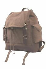 EXPEDITION BACKPACK VINTAGE RUCKSACK Brown-Kaki LEATHER Brass COTTON CANVAS