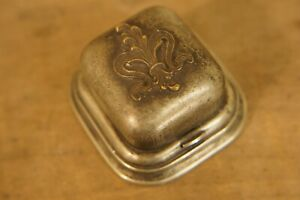 Antique 1904 G. Nickel Silver Travel Inkwell Ring Box Style