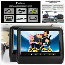 "Pair 9"" 12V Car DVD LCD Headrest USB SD HDMI Monitor Player Games Remote Control"