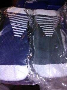 2 New pair Nike Elite Vapor Men  size small Cushioned Football Socks gray & blue