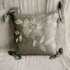 Vintage Laura Ashley Eau De Nil Silk Embroidered Cushion Cover ( Cover Only )