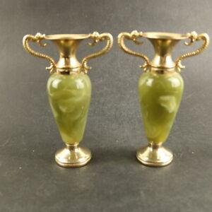 Vtg Pair Green Onyx & Goldtone Dragon handle decorative vases - 15cm Tall