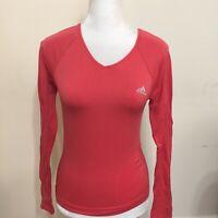 Adidas Women Climacool V Neck Shirt Size S Pink Orange Athletic Long Sleeve Top