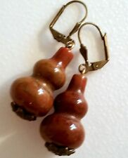 Nice pair of Natural Russian Jasper Earrings, big bottle shape beads. (RJ)