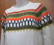 Fluorescent Sweater knit vtg 1970s dayglo kitschy digital stripes lrg crewneck