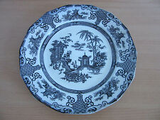 "Antique 1800s Ning-Po R-H&C Decorative Black Transferware Plate 9 3/4"""