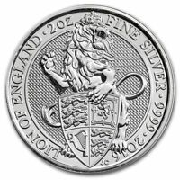 2016 U.K. £5 Silver Queen's Beasts Lion of England 2oz .9999 BU