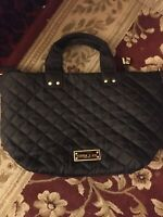 olivia + joy  New York Black Quilted Nylon Tote Gold Accents used good condition