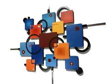 Geometric Retro look Abstract, Wood, Metal, Wall Sculpture, Wall Hanging 37x31