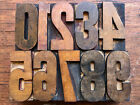 Antique Letterpress Printers WOOD TYPE Numbers 0 thru 9 Font Set collection