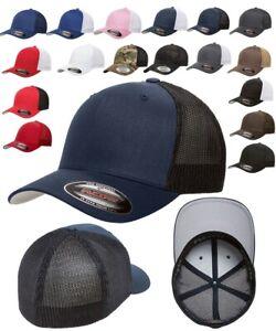 FLEXFIT Classic Original TRUCKER 6-Panel Fitted Baseball Cap HAT New!