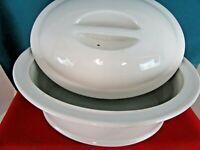 Vintage White Oval Porcelain Casserole Dutch Oven with Vented Lid 3 Qt. Quart