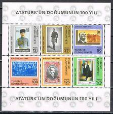 Turkije 1981 blok 19 100-ste geboortedag Atatürk Postfris MNH  cat waarde € 20