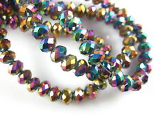 200Pcs Colorized Plated Crystal Glass Faceted Rondelle Bead 4mm Spacer Findings