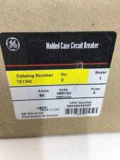 General Electric TEY360 60A 3 Pole Box of 2 Circuit Breaker J623 New Take Out GE