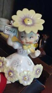 "APP 5"" OLDER VINTAGE NAPCO 1956 APRIL BIRTHDAY GIRL @ YELLOW DAISY HAT & TRIM"