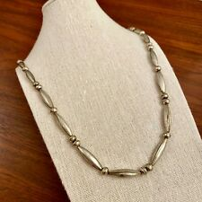 Bench & Melon Bead Necklace Old Pawn Native American Sterling Silver