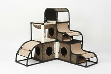 "47"" Leopard Print Pet Cat Tree Play House Tower Condo Bed Scratch Post Toy Balls"