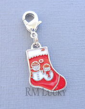 Pendant Christmas Stockings Clip On Charm Fit Link Chain, Floating Locket C113