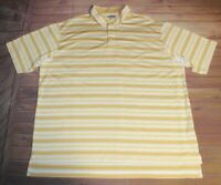 Adidas Climacool Short Sleeve Golf Polo Shirt Mens XXL Yellow White Striped
