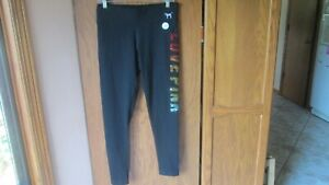 NWT Victoria's Secret Pink Collection Black Full Length Leggings With Sequins L