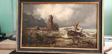 """Tableau Marine, huile sur bois, """"Tempête en mer"""" XIXème."""