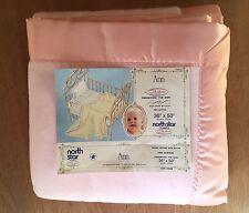 VTG NEW North Star Chatham Baby Crib Blanket Acrylic Satin Trim Baby Star PINK