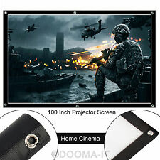 "100"" pouces Projecteur Écran de projection 16:9 Blanc Mat HD Home Cinema Theater"