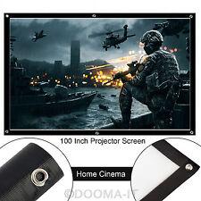 "Proyector de 100"" pulgadas pantalla de proyección 16:9 HD Blanco Mate Cine Home Theater"