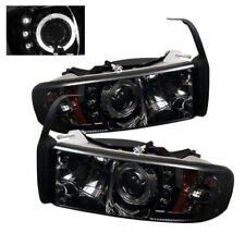 94-02 DODGE RAM 2500/3500 SPYDER SMOKED PROJECTOR HEADLIGHTS W/ LED HALO.