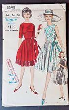 VOGUE ORIGINAL PATTERN DRESS 5598 SZ 14 1950s