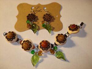 Floral Glass Cabs -Leaves Crystal Wood Buttons Bracelet n Earrings