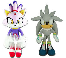 NEW GE Sonic the Hedgehog Stuffed Plush Toys Set of 2 - Blaze the Cat & Silver