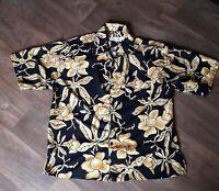 Mens Vintage Yellow/Black hawaiian shirt Size L collection Hawaii