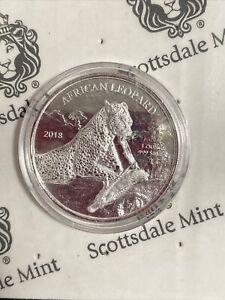 2018 5 Cedis Republic of Ghana African Leopard 1oz Fine Silver Coin w/ Capsule