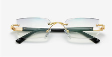 Mens Eye Glasses Clear Lens Rimless Small Reflective Square Silver Frame Fashion