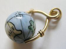 Antique Bilston Enamel Revolving Globe Map of the World Charm Swivel Fob